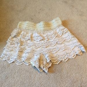 Pants - Cream White Crocheted Shorts